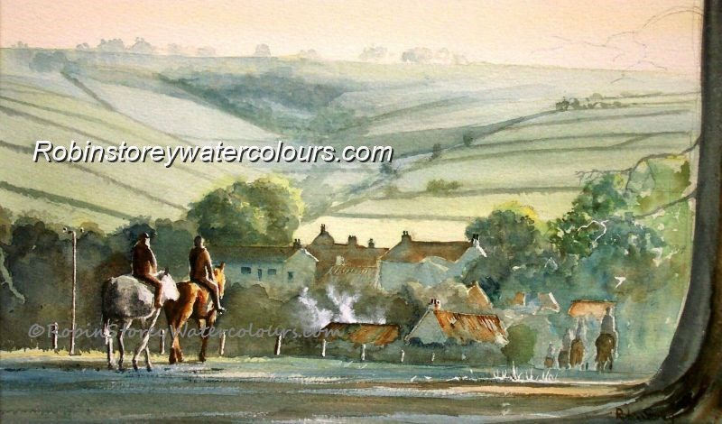Wolds Village ,original watercolour by Robin Storey