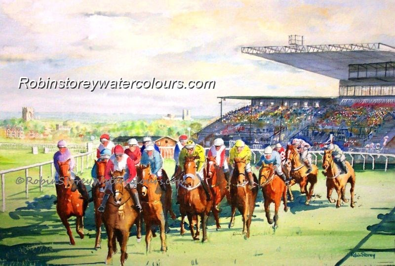 Beverley Races ,original watercolour by Robin Storey