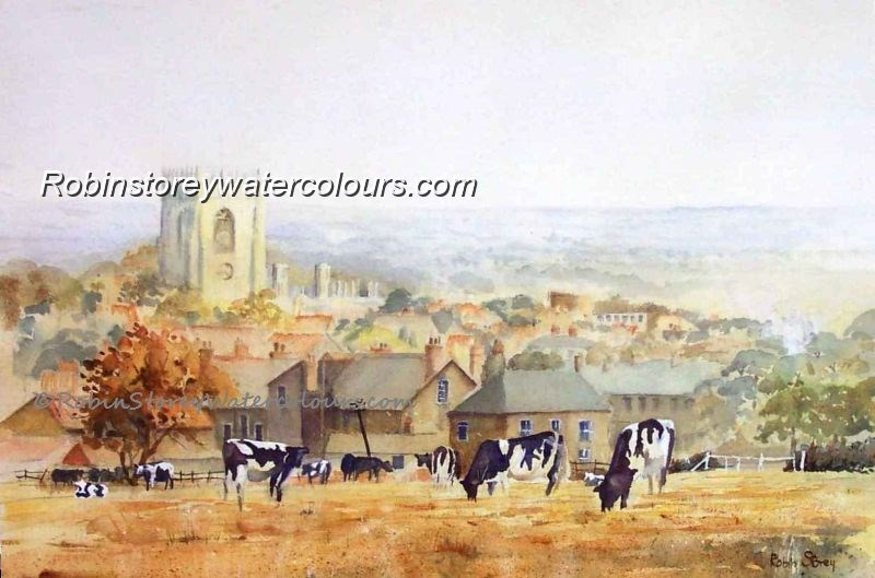 Cows On The Hurn ,original watercolour by Robin Storey