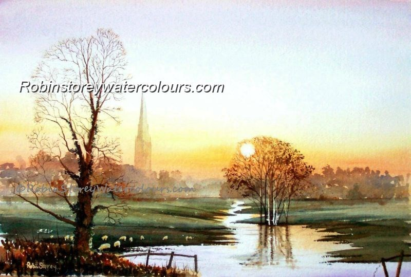 South Dalton ,original watercolour by Robin Storey