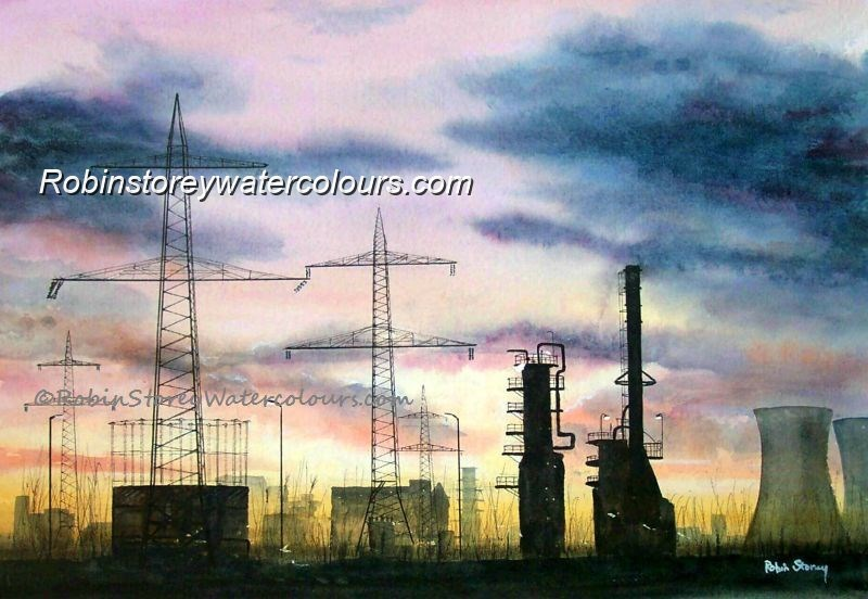 Landscape Of Industry ,original watercolour by Robin Storey