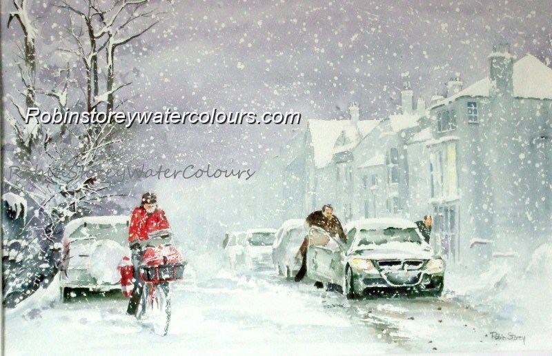 Snowy Morning ,original watercolour by Robin Storey