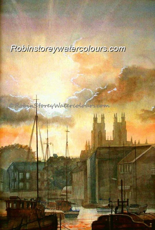 Beverley Beck At Dusk ,original watercolour by Robin Storey