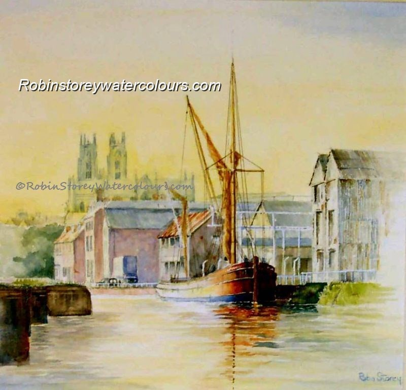 Barge on Beverley Beck ,original watercolour by Robin Storey