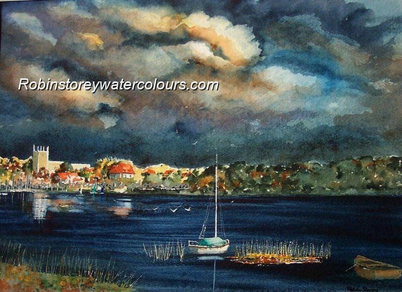 Hornsea Mere Stormy ,original watercolour by Robin Storey