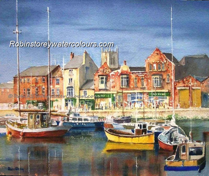 Hull Marina ,original watercolour by Robin Storey
