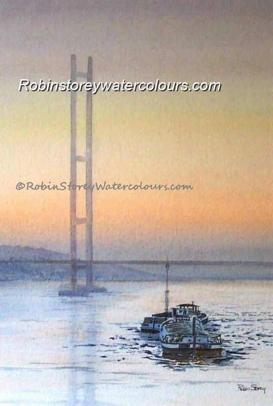 Humber Barges and Humber Bridge ,original watercolour by Robin Storey