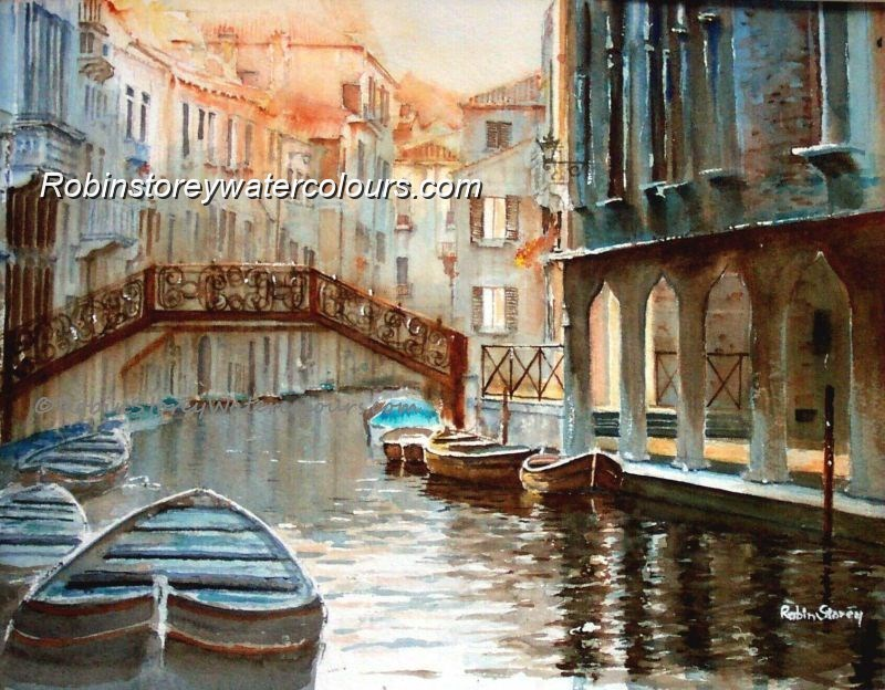 Large Venetian Canal ,original watercolour by Robin Storey