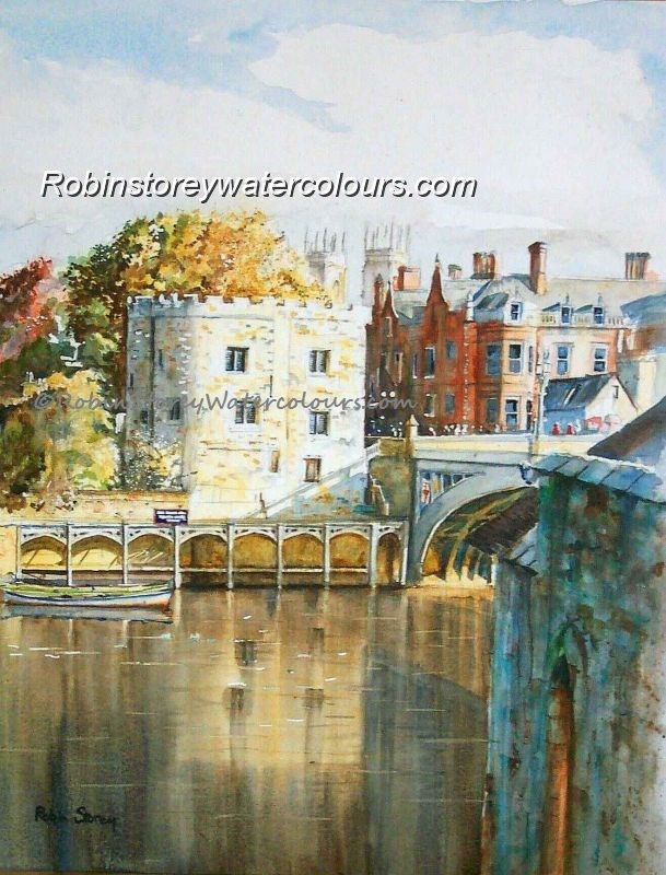 Lendal Tower and Bridge ,original watercolour by Robin Storey