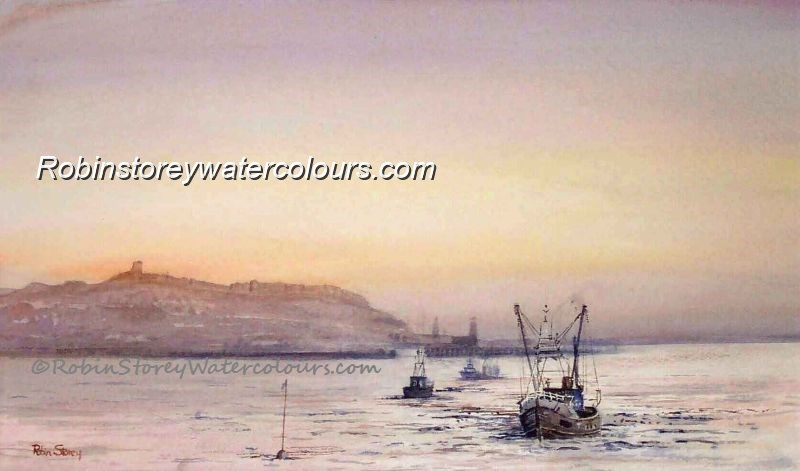 Scarborough Bay ,original watercolour by Robin Storey