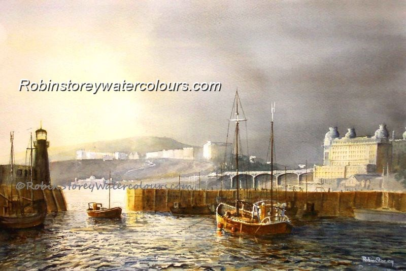 Scarborough Harbour ,original watercolour by Robin Storey