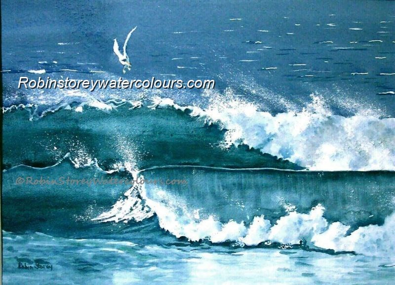 Surf and Sea ,original watercolour by Robin Storey