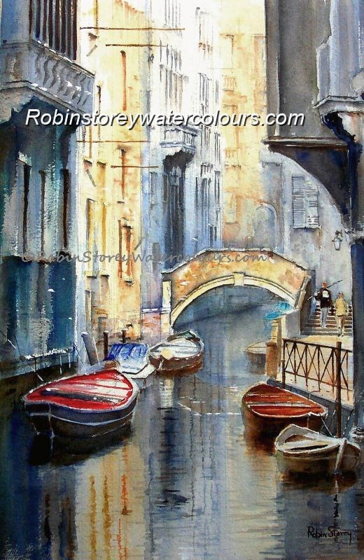 Venetian Small Canal ,original watercolour by Robin Storey