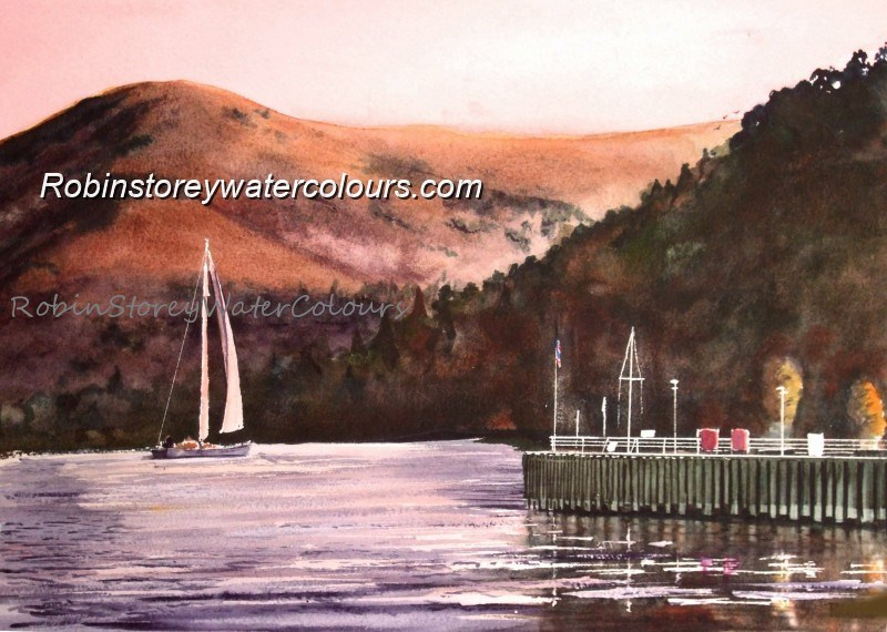 The Pier, Glenridding, Ullswater ,original watercolour by Robin Storey