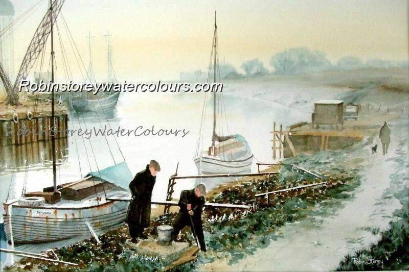 Hessle Haven ,original watercolour by Robin Storey
