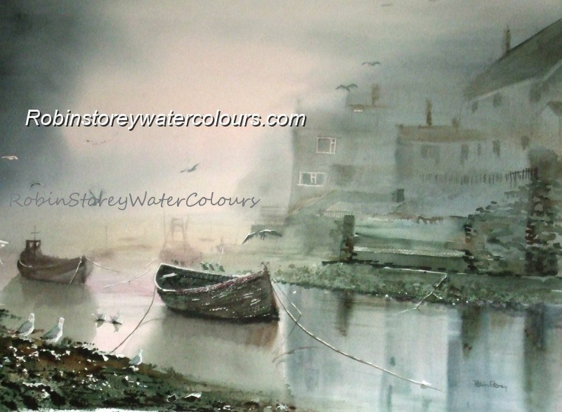 Staithes ,original watercolour by Robin Storey