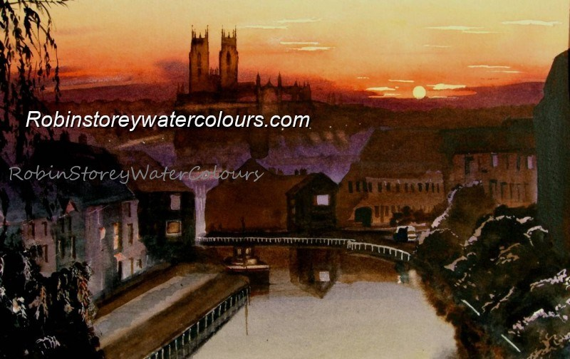 Beverley Beck at sunset ,original watercolour by Robin Storey
