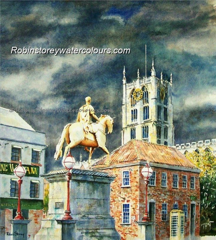 King Billy Statue ,original watercolour by Robin Storey
