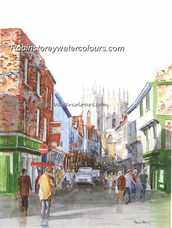 Low Petergate between the showers ,original watercolour by Robin Storey