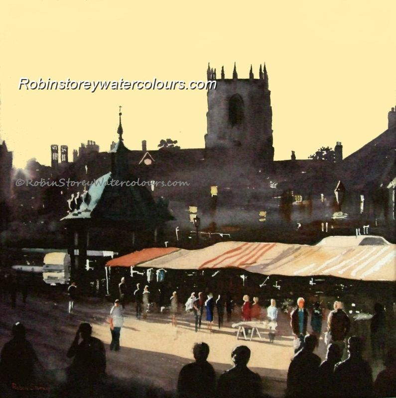 The Market ,original watercolour by Robin Storey