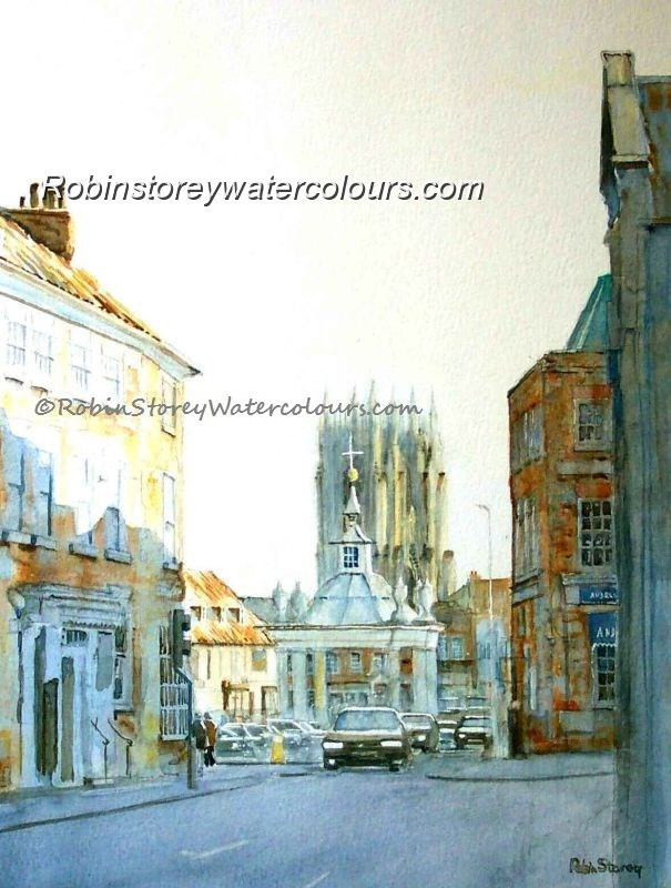 Market Cross Beverley ,original watercolour by Robin Storey