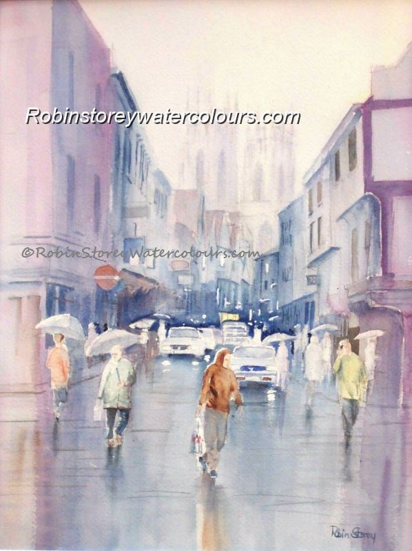 Rainy Petergate ,original watercolour by Robin Storey