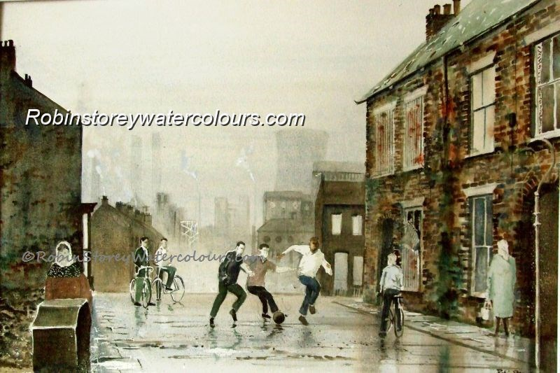 The Street ,original watercolour by Robin Storey