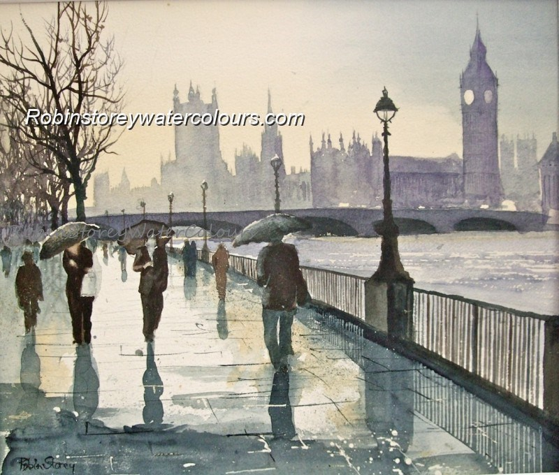 South Bank ,original watercolour by Robin Storey