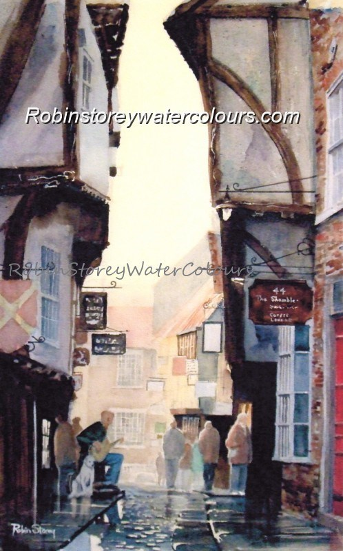 Shambles York ,original watercolour by Robin Storey