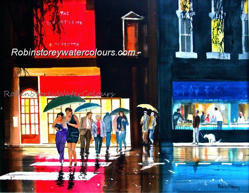 Night out ,original watercolour by Robin Storey