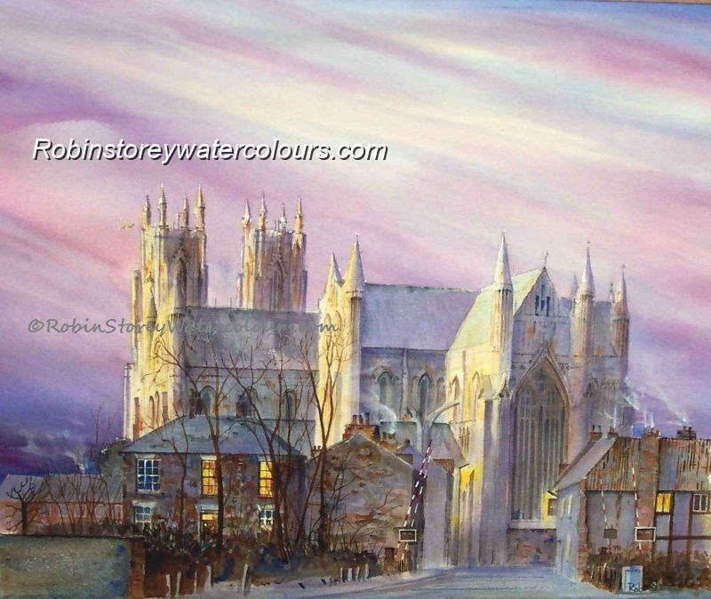 Beverley Minster Early Morning ,original watercolour by Robin Storey