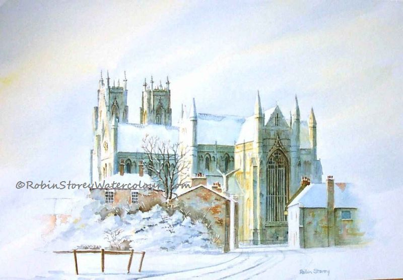 Beverley Minister from Flemingate ,original watercolour by Robin Storey