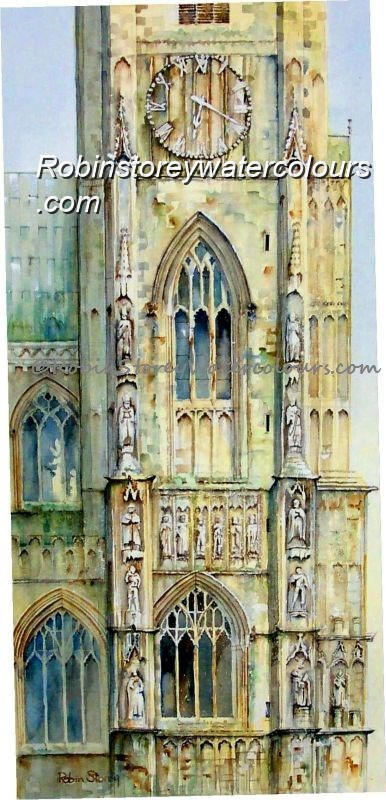 Beverley Minster Clock Tower ,original watercolour by Robin Storey