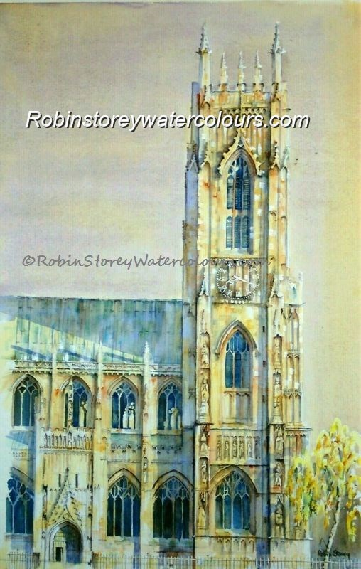 Beverley Minster Clock Tower and Porch ,original watercolour by Robin Storey
