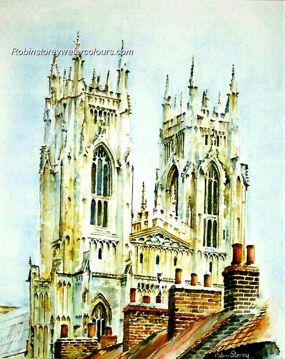 Beverley Minster From Roof Tops ,original watercolour by Robin Storey