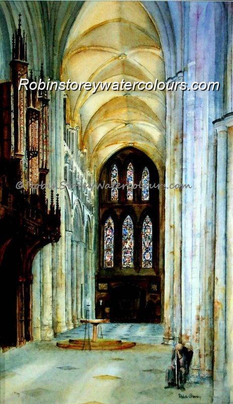 Beverley Minster Transept ,original watercolour by Robin Storey