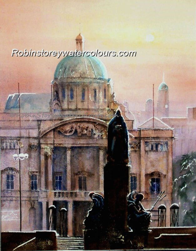 City Hall and Victoria Monument ,original watercolour by Robin Storey