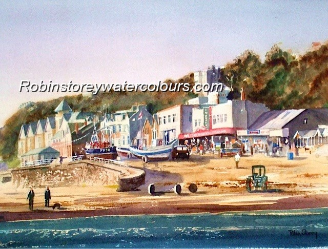 Filey Coble Landing ,original watercolour by Robin Storey