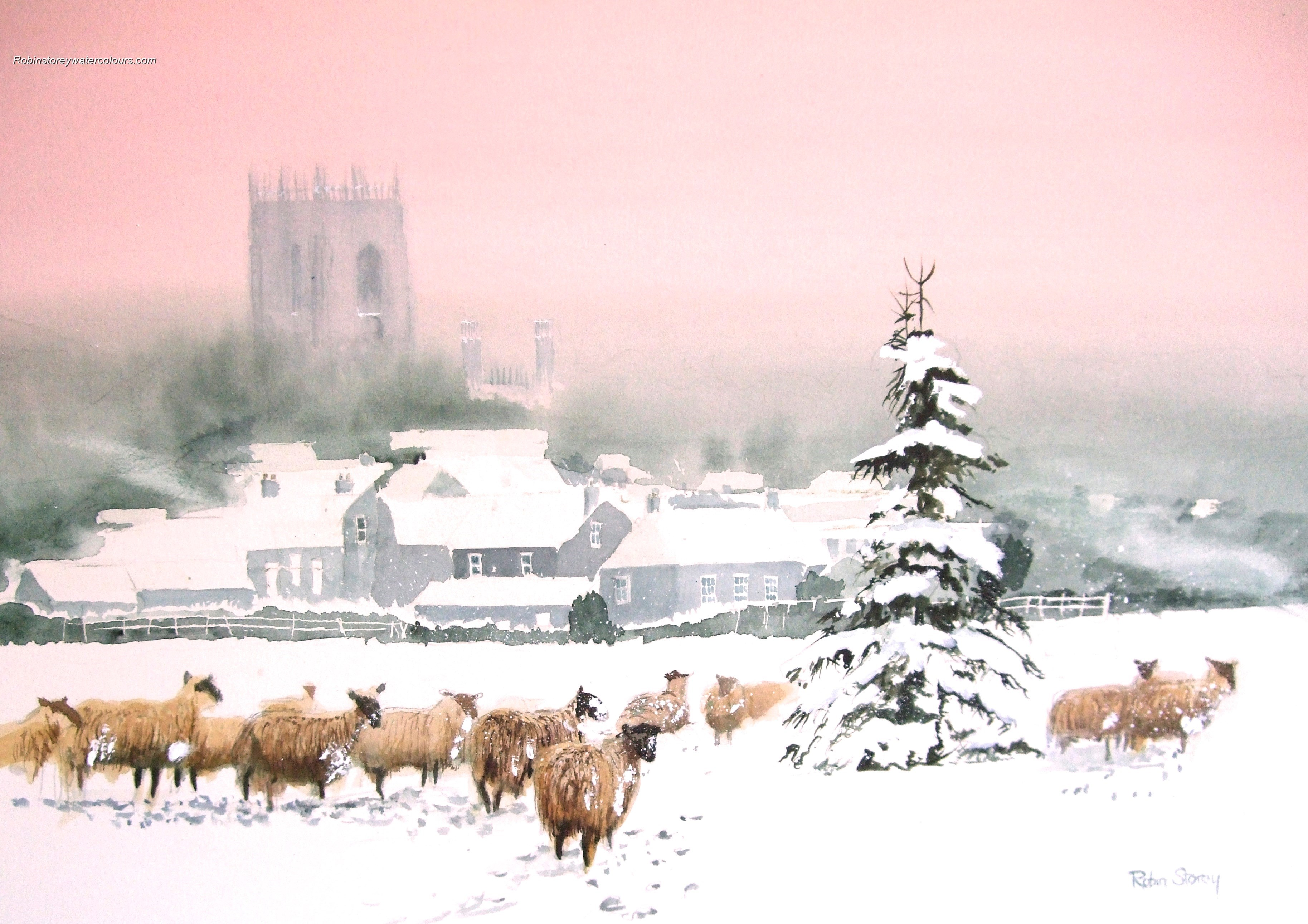 Sheep in the snow ,original watercolour by Robin Storey