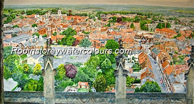 Beverley from Minster roof top ,original watercolour by Robin Storey