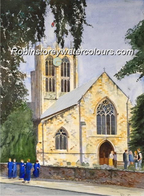 St Marys Church Cottingham ,original watercolour by Robin Storey