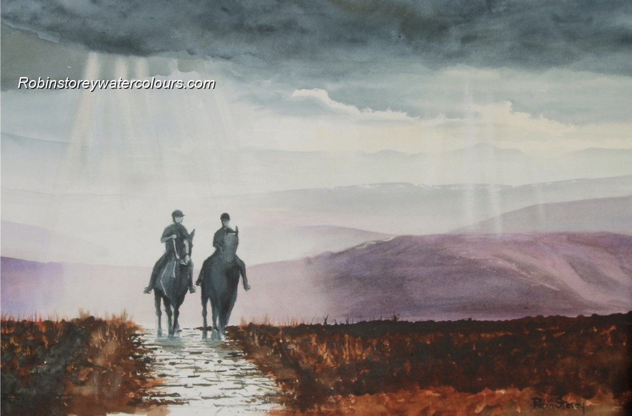 Horse Riders on the Moors ,original watercolour by Robin Storey