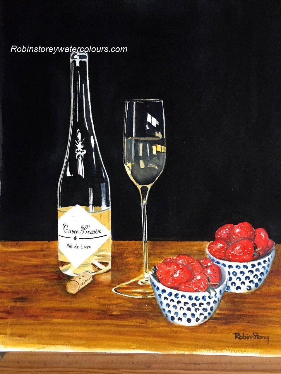 Strawberries and wine (1) ,original watercolour by Robin Storey